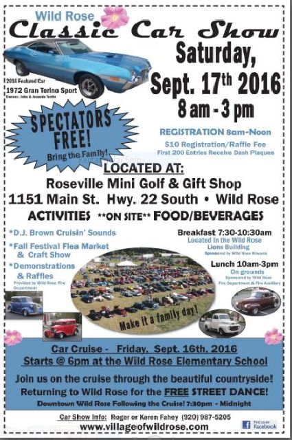Car Show Village Of Wild Rose Waushara County Wisconsin - Market street car show